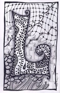 One Of My Examples For 6th Grades Zentangle Letter Drawing Project