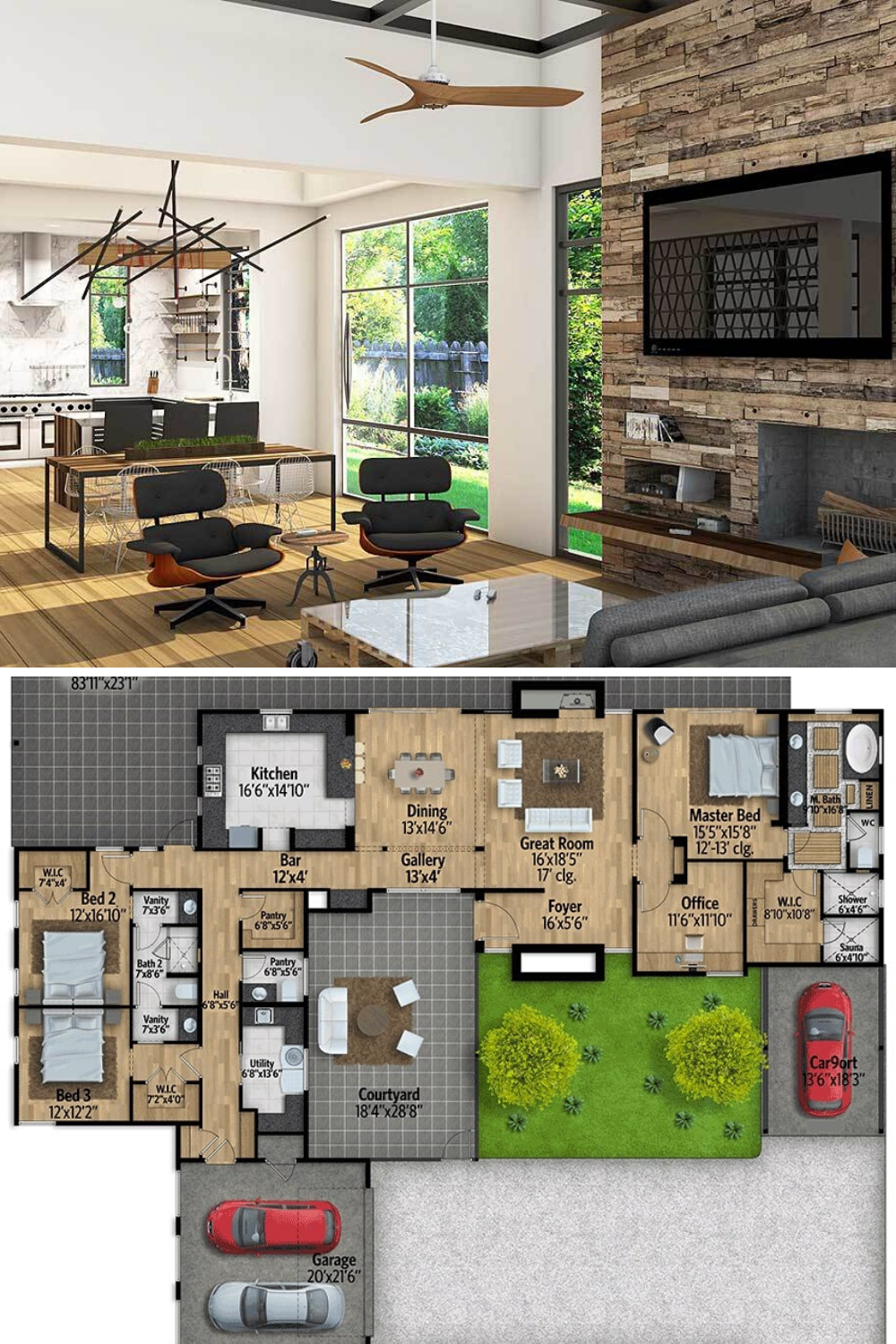 3 Bedroom Single Story Mid Century Modern Home with Courtyard Floor Plan