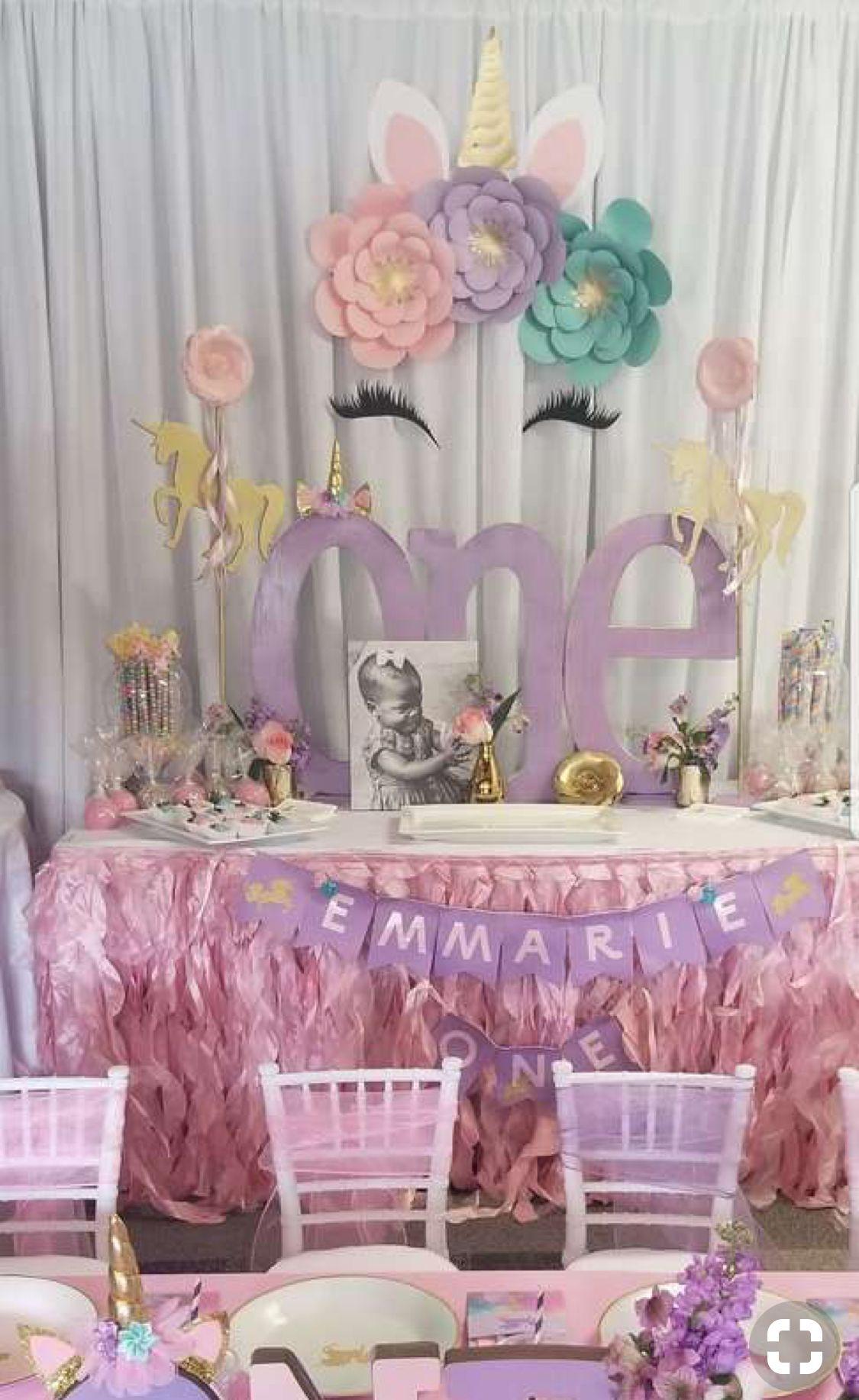 Unicorn Backdrop Easy Diy Unicorn Themed Birthday Party Unicorn Birthday Party Decorations 1st Birthday Party For Girls
