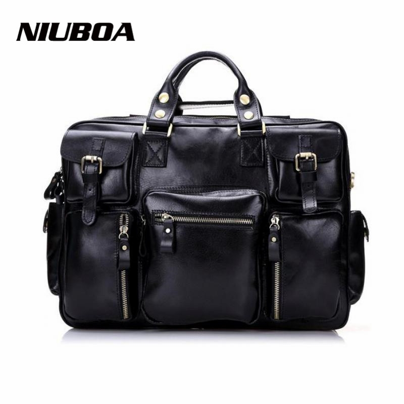 124.00$  Buy now - http://alijeq.worldwells.pw/go.php?t=2026772195 - Man Genuine Leather Shoulder Bags Top Quality Euro Style Multi Pocket Business Travel Handbag Solid Zipper Messenger Bags