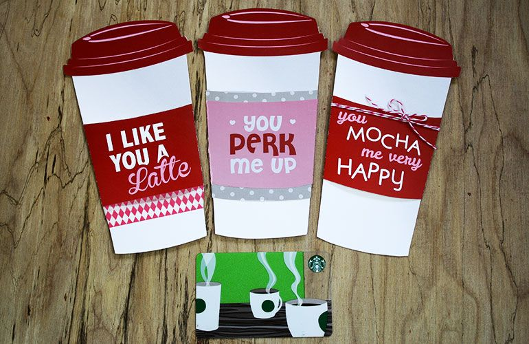 Free gift card holder latte valentine gift card holder