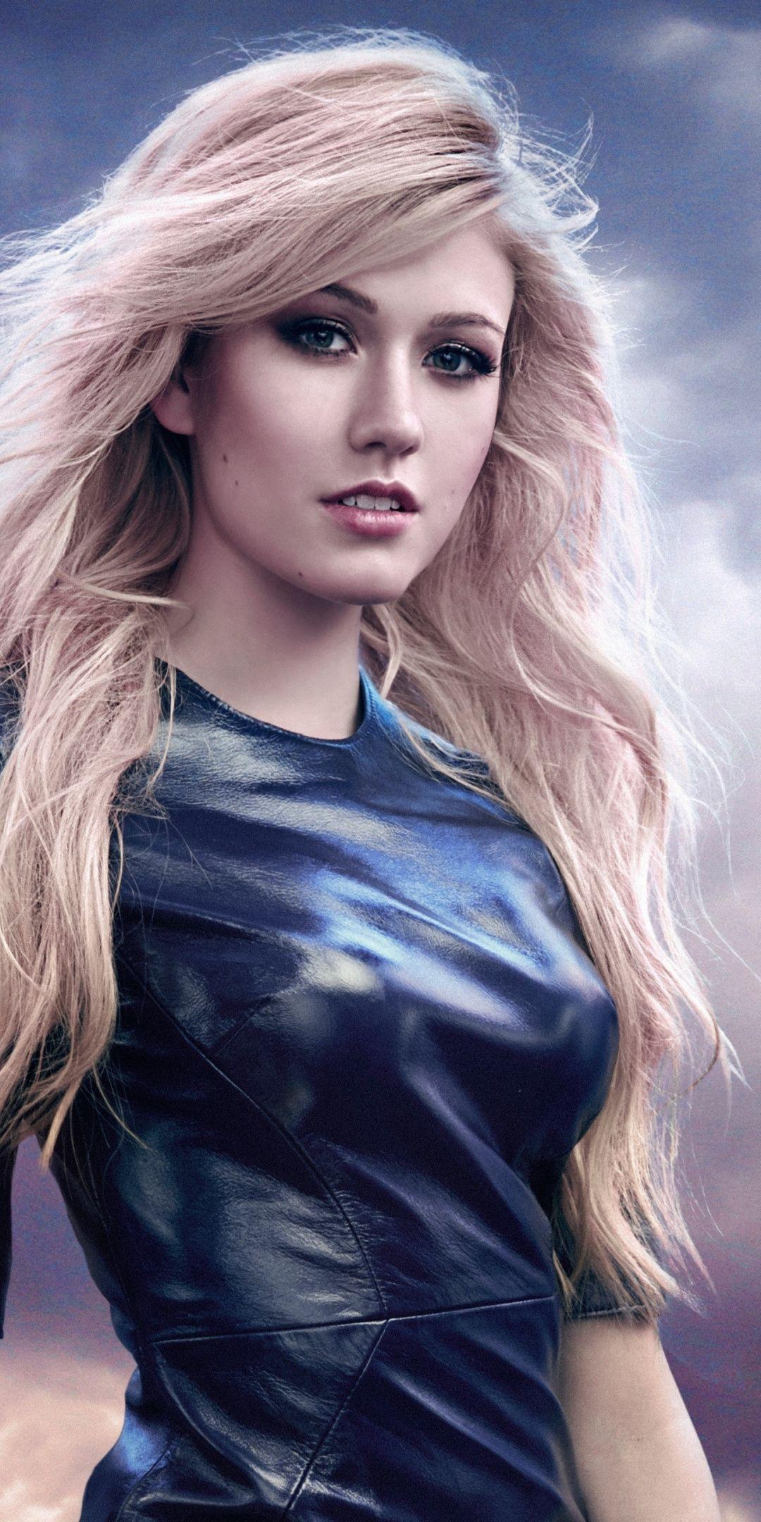 Katherine Mcnamara Blue Dress 2019 1080x2160 Wallpaper