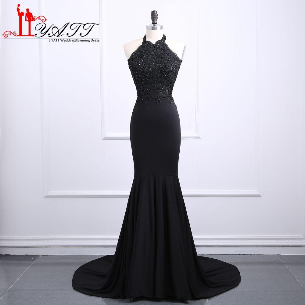 Click to Buy << Cheap Black Mermaid Prom Dresses 2017 New Halter ...