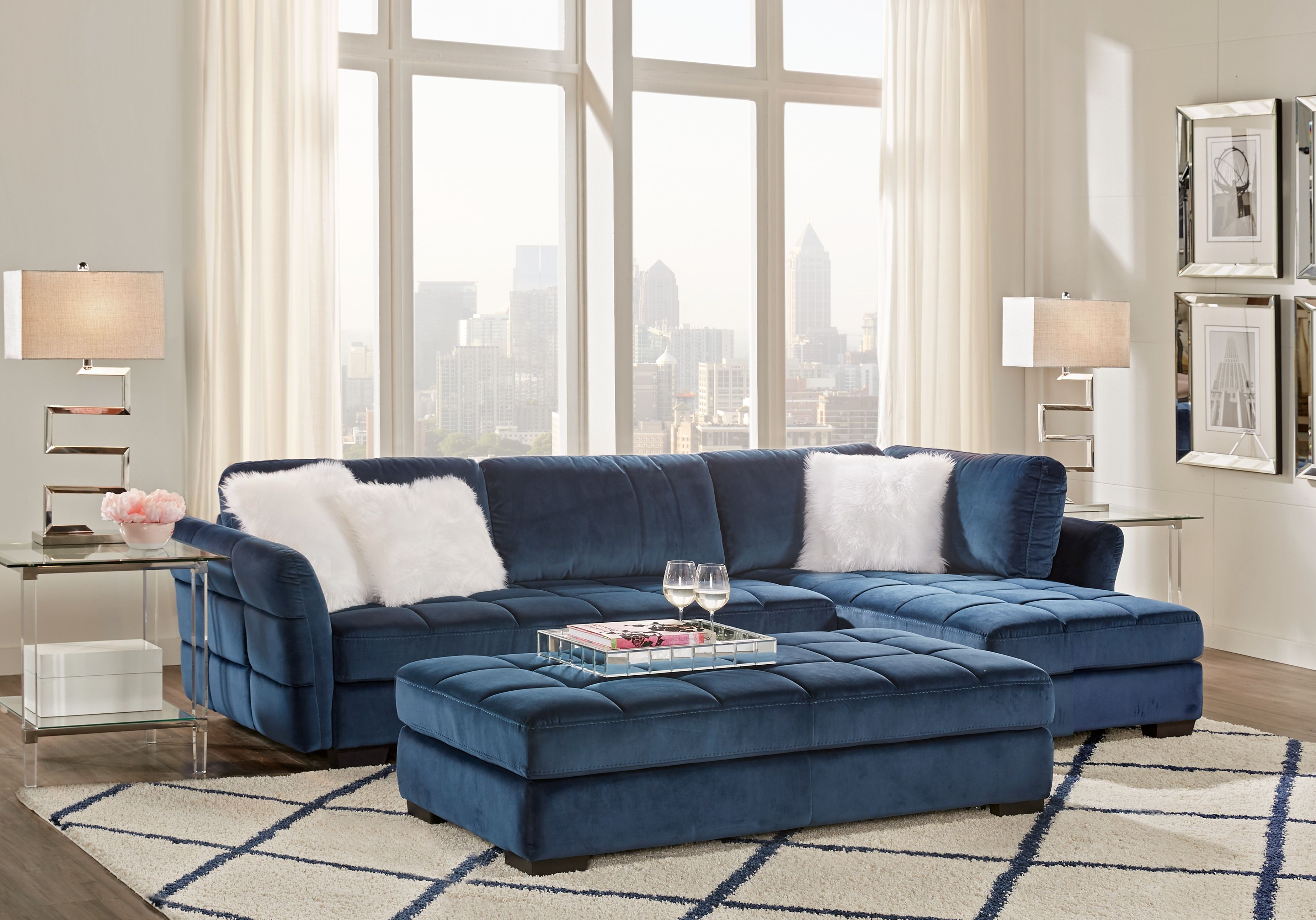 Largo Drive Indigo 3 Pc Sectional Living Room Living Room Sets Furniture Living Room Sets Living Room Sectional