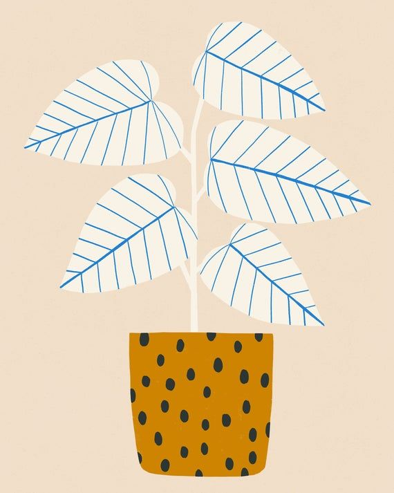 Blue Lines Plant with Mustart Pot - Art Print -   12 plants Pattern inspiration ideas