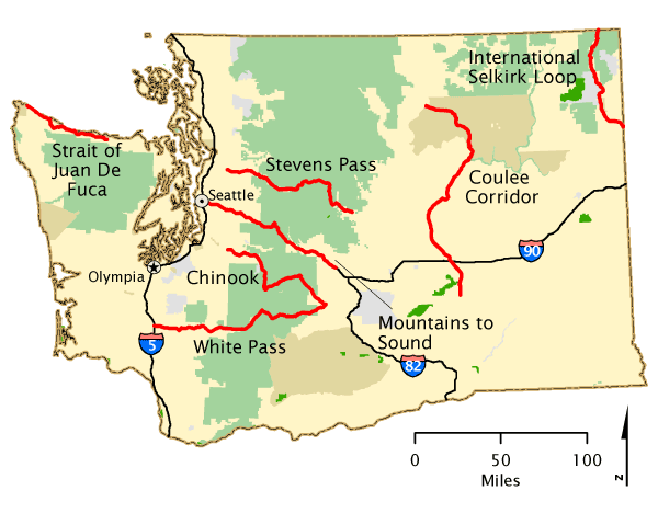 Washington Map America S Byways Seattle Weekend Destinations