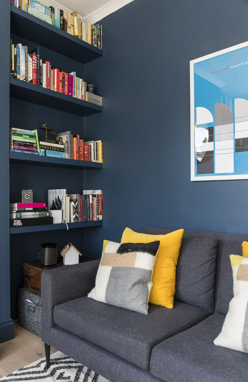 Blue And Yellow A Match Made In Heaven Dark Blue Walls With Yellow Accent Blue Accents Living Room Blue And Yellow Living Room Living Room Wall Color #yellow #blue #living #room