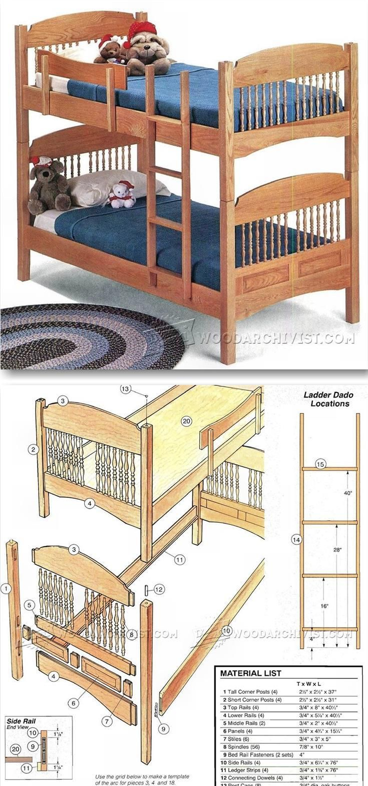 Colonial Bunk Bed Plans Children S Furniture Plans And Projects Woodarchivist Com Woodworking Furniture Plans Bunk Bed Plans Kids Furniture Plans