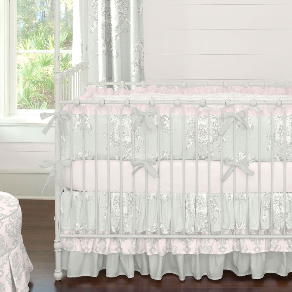 Baby bed accessories - Silver French Angel Crib Bedding Carouseldesigns