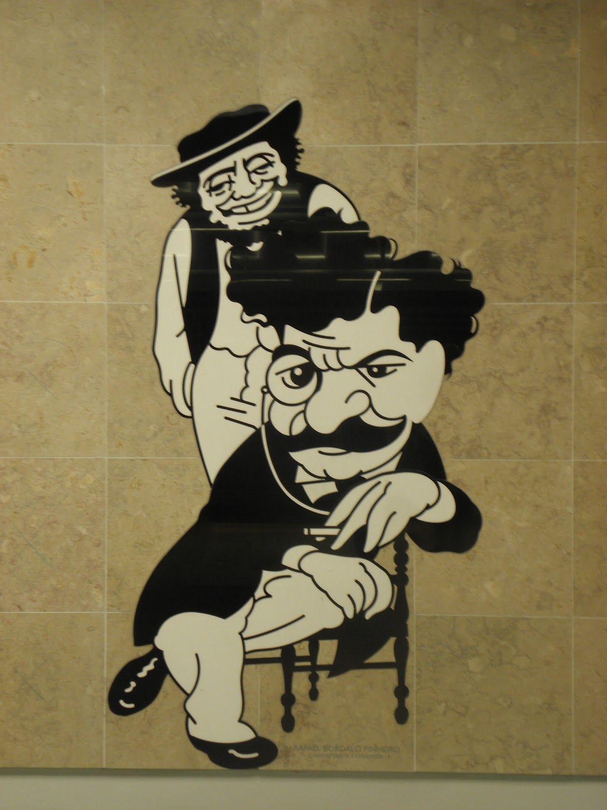 As 55 caricaturas de personalidades de Lisboa que o cartoonista António produziu para a estação do Aeroporto do Metro de Lisboa podem agora ser vistas na ...