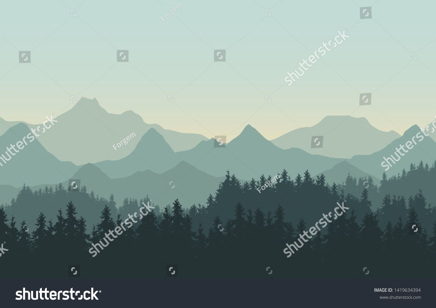 Realistic Illustration Of Mountain Landscape With Hills And Coniferous Forest Under Green Sky Suitable As A H In 2020 Mountain Landscape Illustration Forest Landscape