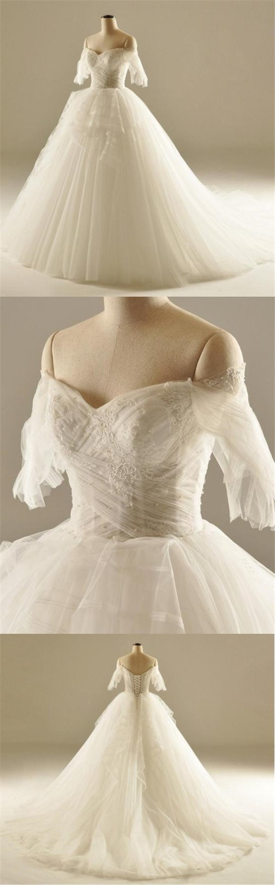 Sweetheart off shoulder half sleeve ivory lace tulle ball gown lace