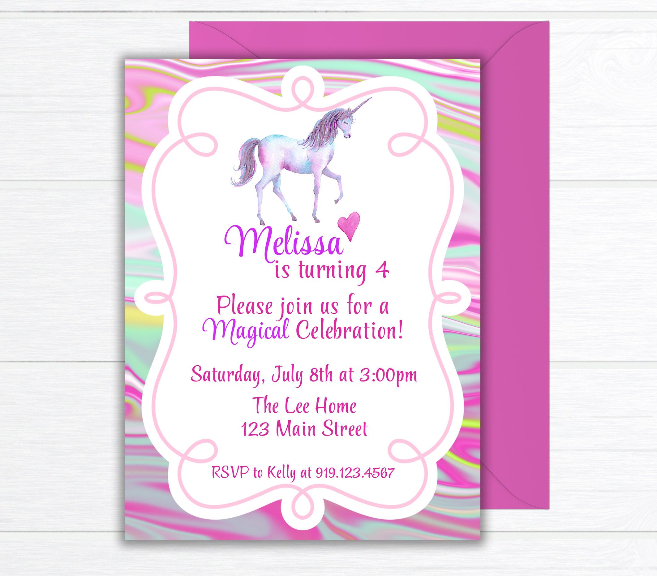 Unicorn Birthday Party Invitation, Birthday Party Invite, Unicorn ...