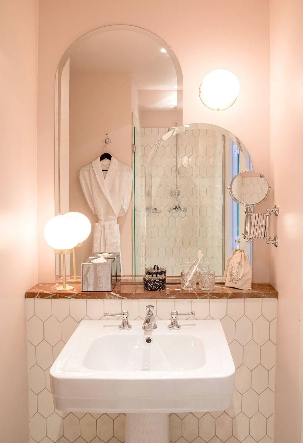 Powder Room 11 Favorite Pink Hued Bathrooms Modern Edition Pink Bathroom Boulevard Hotel Bathroom Decor