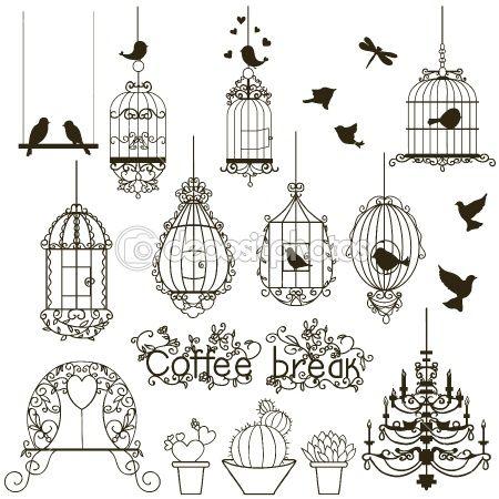 Birdcage set. by yaskii - Stock Vector
