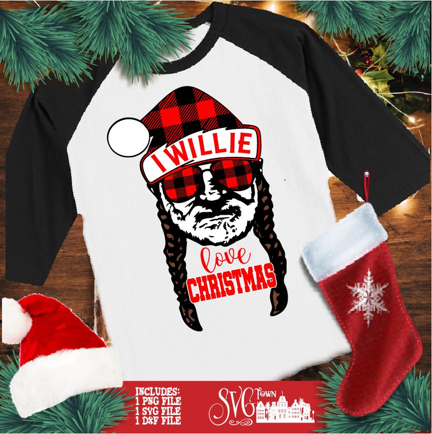 I Willie Love Christmas Santa hat SVG Design Silhouette
