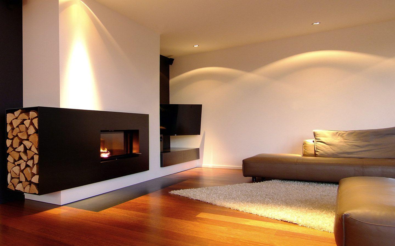 Moderner Kamin aus Stahl und Putz  Kamine  Kamin modern Ofen wohnzimmer und Brennholzregal