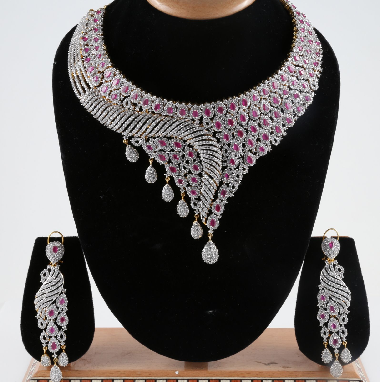 American Diamond Studded Indian Bridal Necklace Set