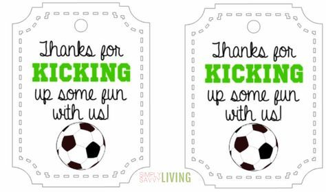 soccer party favor thank you tag printable free | Kids ...