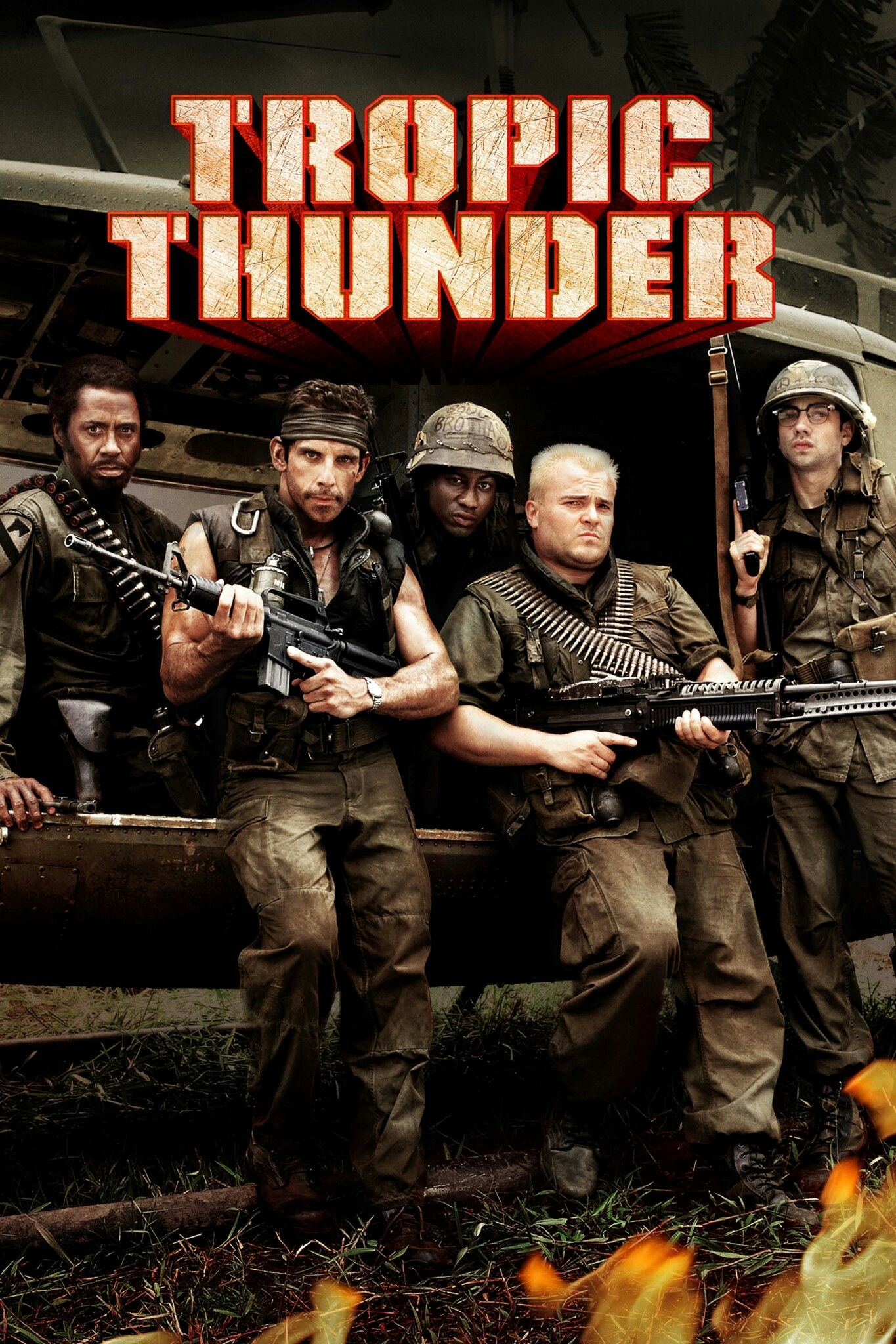 Tropic Thunder 2008 Movie Poster Cast Robert Downey Jr Ben Stiller Brandon T Jackson Jack Tropic Thunder Movie Movie Business Full Movies Online Free