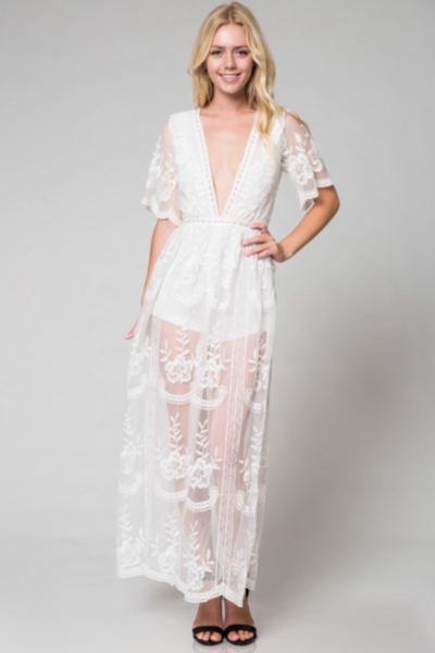 6e6c75e5eac9 Preorder - Bardot Lace Maxi Romper - White