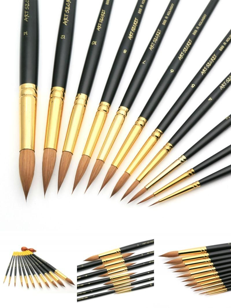 Visit To Buy High Quality Pur Kolinsky Watercolor Brush Gold