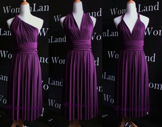Dark Purple Knee Length Infinity Dress Convertible Woman Evening Wedding Bridesmaid Tailor Made