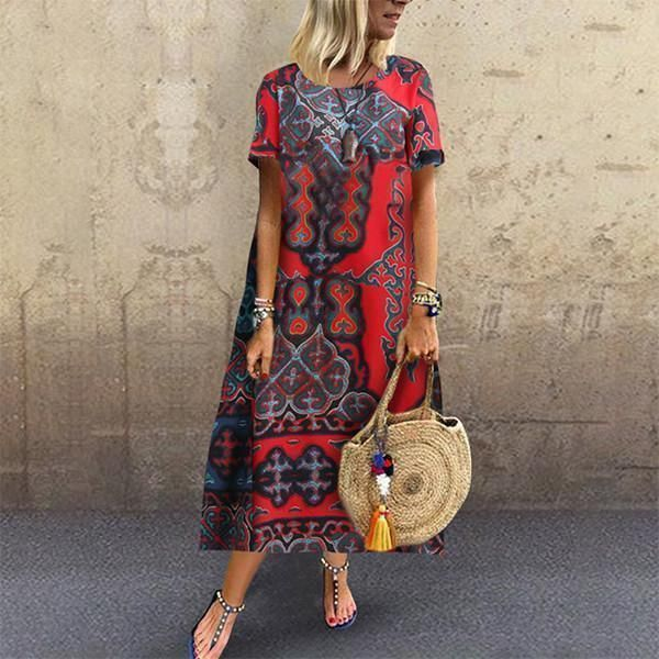 Casual Cotton Linen Printing Short Sleeves Maxi Dresses In 2019