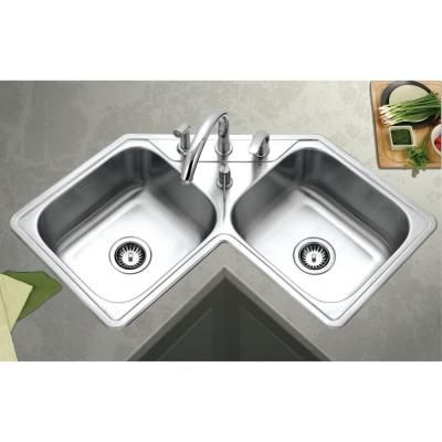 Houzer Legend Drop In Stainless Steel 32 In 4 Hole Double Bowl Kitchen Sink Lcr 3221 1 The Home Depot Corner Sink Kitchen Sink Design Kitchen Sink Design