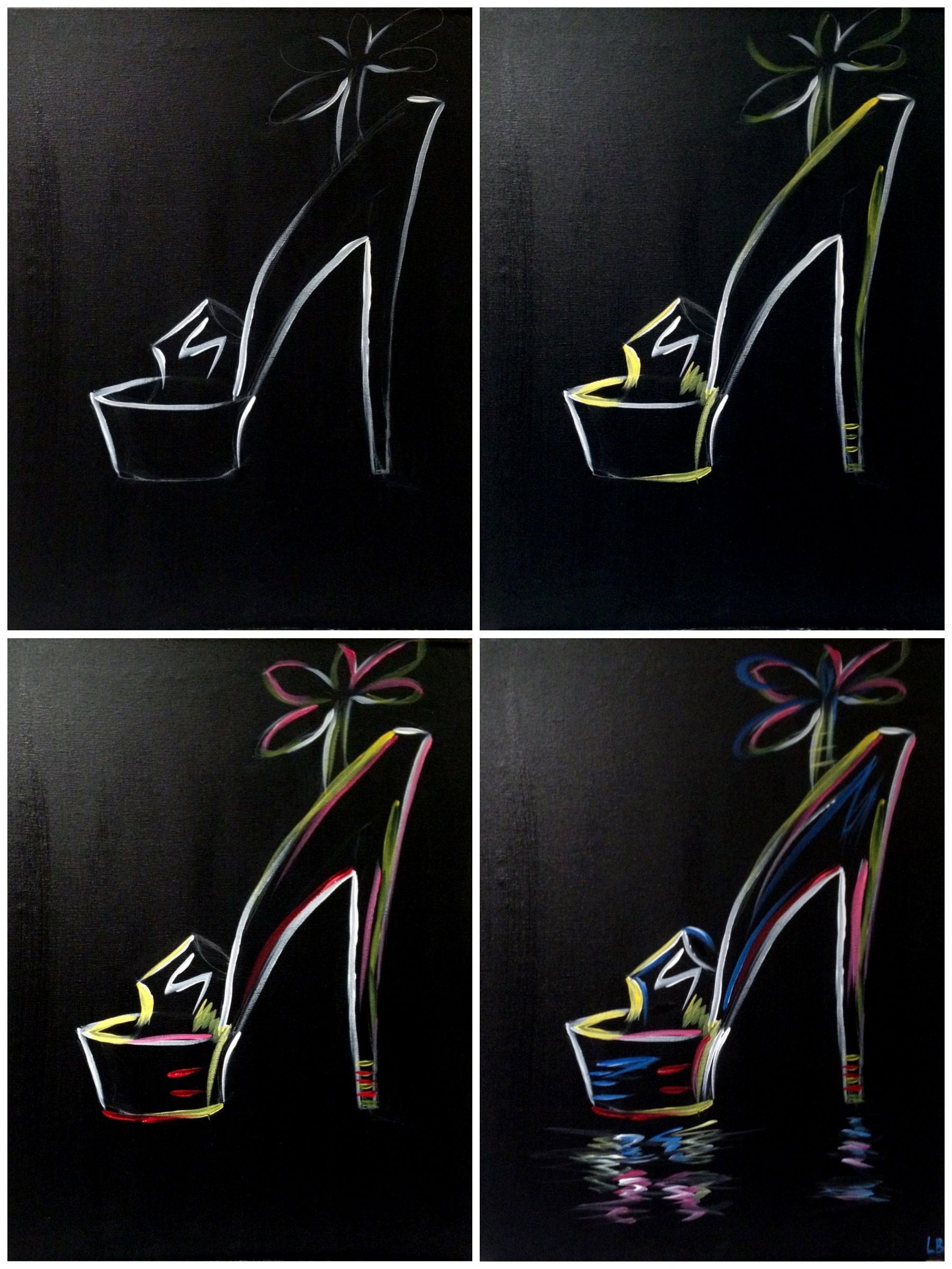 """Evolution of the """"Neon Stiletto"""" Painting with a Twist"""