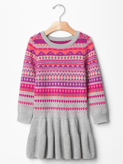 558e76137d6 Fair isle drop-waist sweater dress