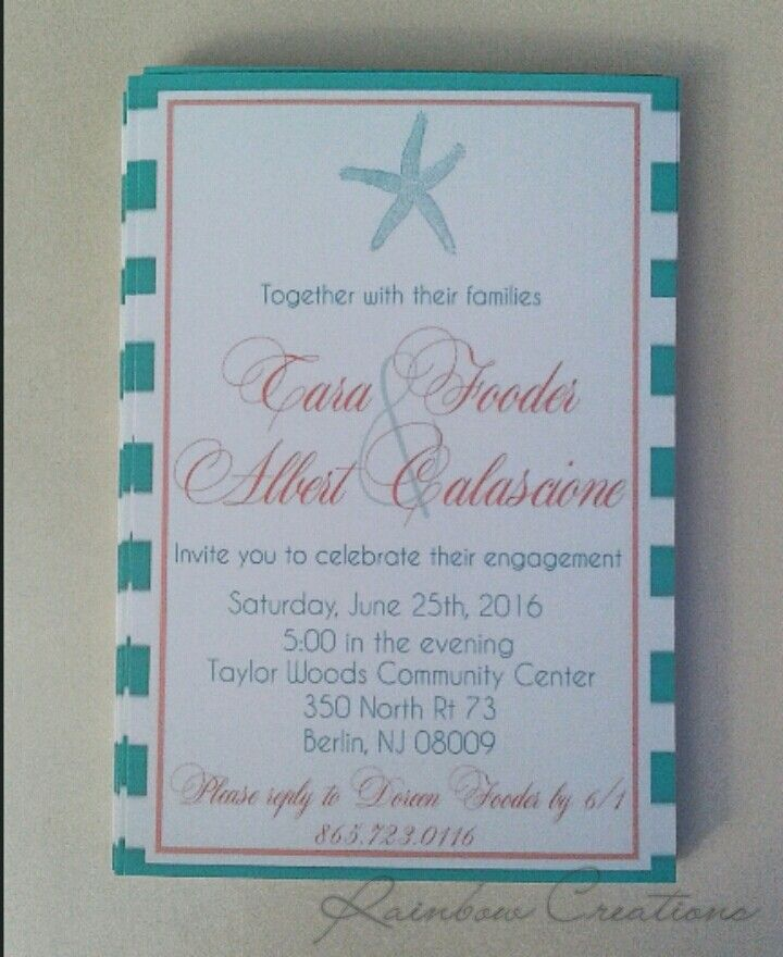 Beach themed Engagement Party Invitations. Www.facebook.com ...