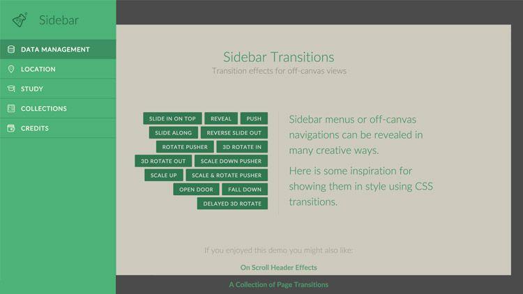 Sidebar Transitions Effets De Transitions Sur La Navigation Ressources