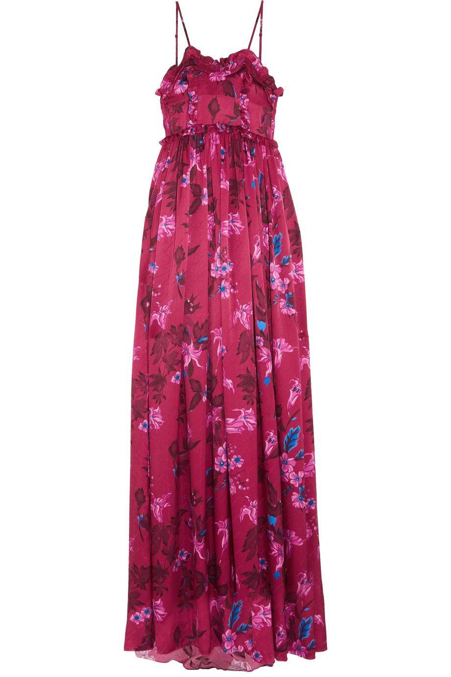 Ruffled Floral-print Silk-jacquard Gown - Pink Balenciaga 0EJMSy