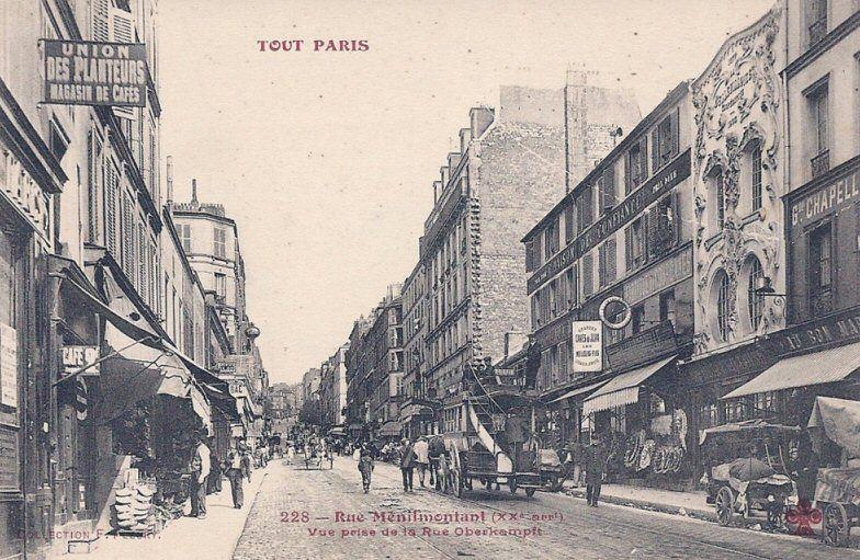 La rue de Ménilmontant à la hauteur de la rue Oberkamp, vers 1900.