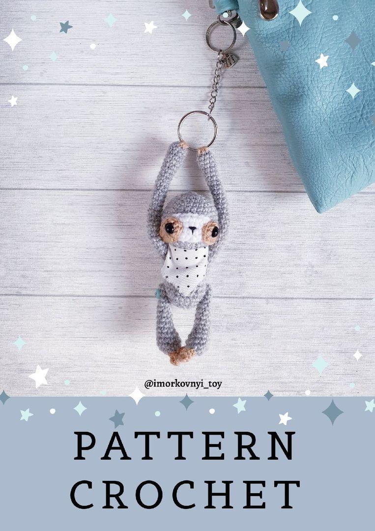 Amigurumi pattern sloth miniature toy pdf crochet tutorial ... | 1080x763