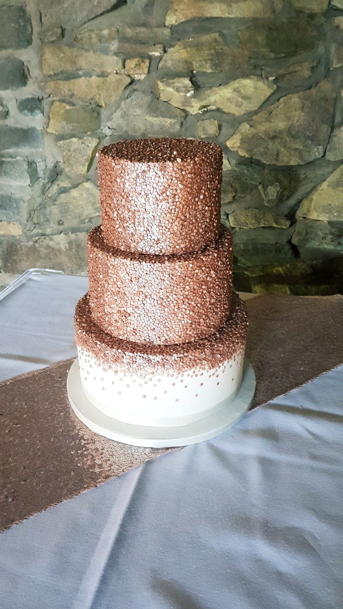 Rose gold edible sequins 3 tier wedding cake by Sugar Wishes Cakes