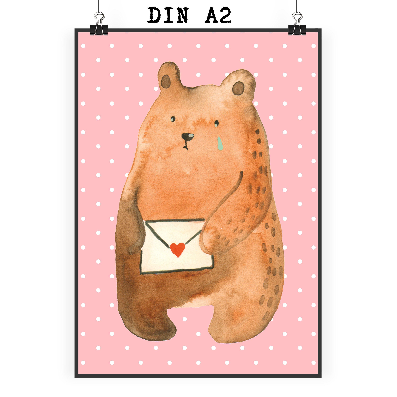 Poster DIN A2 Liebesbrief-Bär aus Papier 160 Gramm weiß