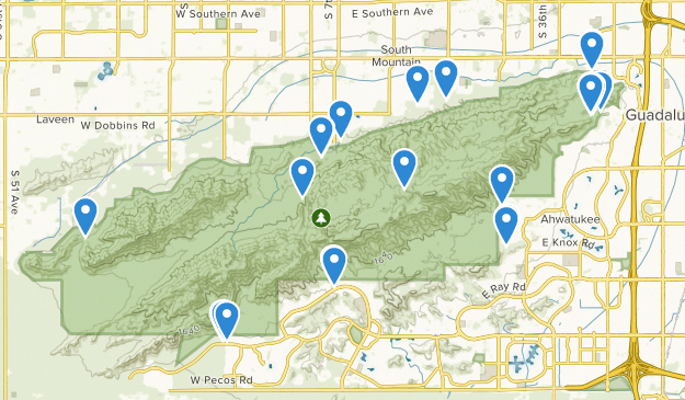 South Mountain Preserve Trail Running Map ... on
