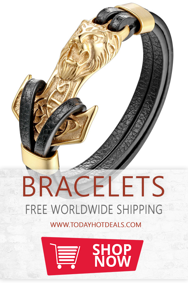 6a351243f74 Gold Lion Anchor Shackles Black Leather Bracelet. Bracelets Type  Charm  Bracelets. Clasp Type  Easy-hook. Metals Type  Stainless Steel.