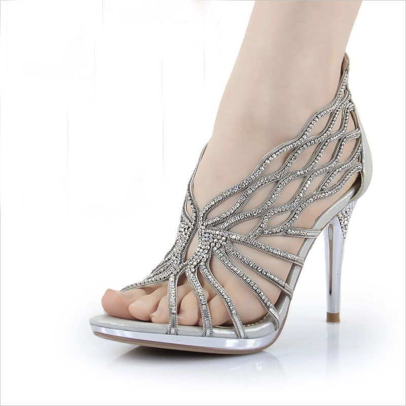 2014 Highly Recommended Silver Rhinestone Shoes/Wedding