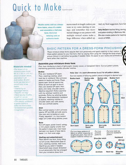Threads 91 Dress Form pincushion pattern | шьем сами | Pinterest ...