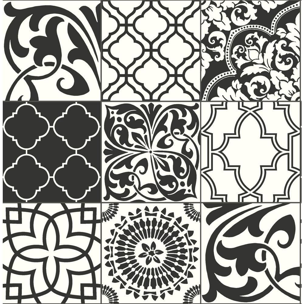 NextWall Black and White Graphic Tile Peel and Stick