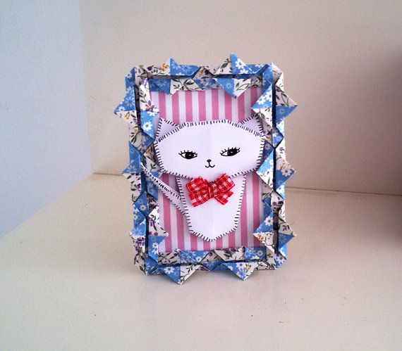 Origami Cat Paper Picture, Cute White Cat Art, Shabby chic Frame, Cat lover gift, Paper art