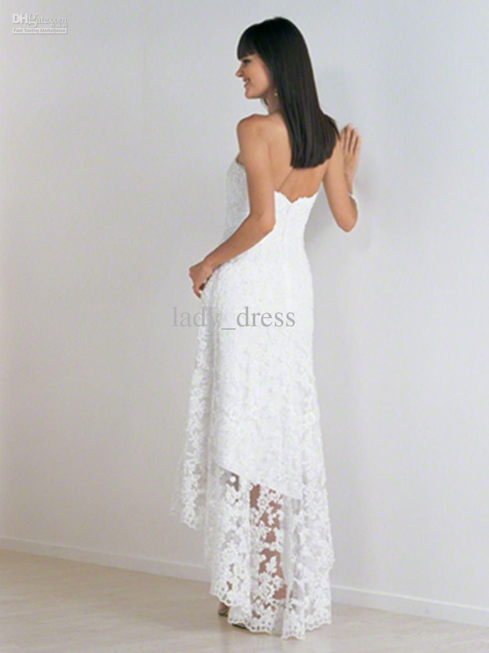 Wholesale hot sales free shipping lace short front long back white