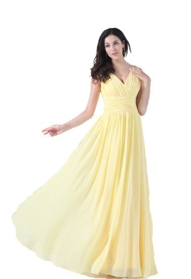 Simple Yellow Chiffon Dress
