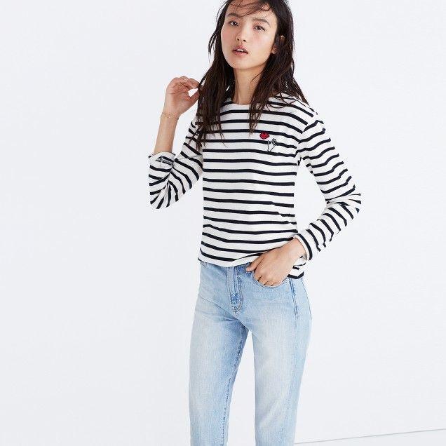 Madewell X Armor-Lux® Embroidered Hands And Lips Striped