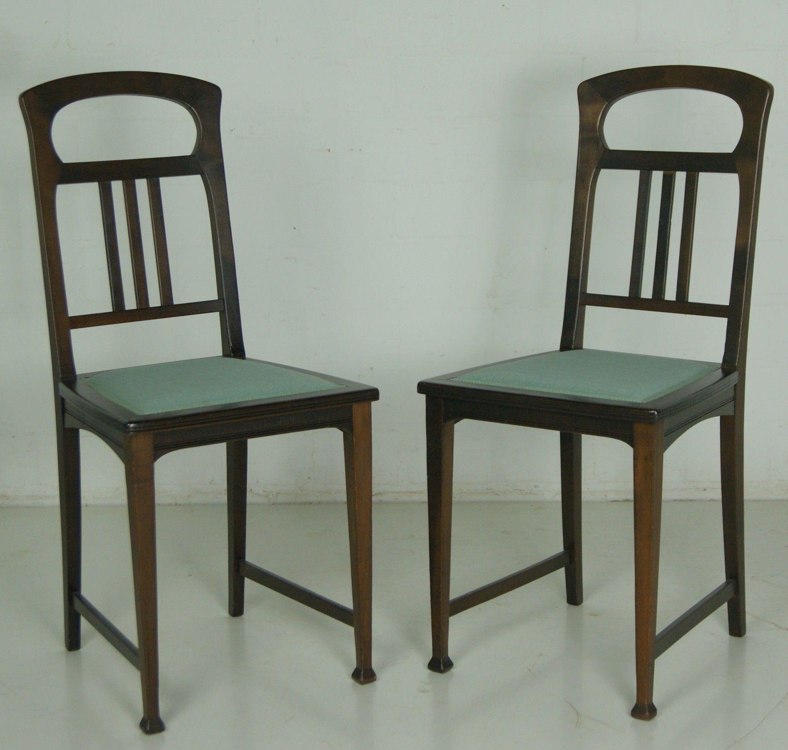 Sitzgarnitur Jugendstil Restauriert 6 Teilig Esszimmer Tisch Sessel Stühle  Antik 6