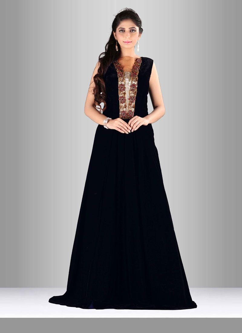 Add richer looks to a persona with this velvet designer gown this