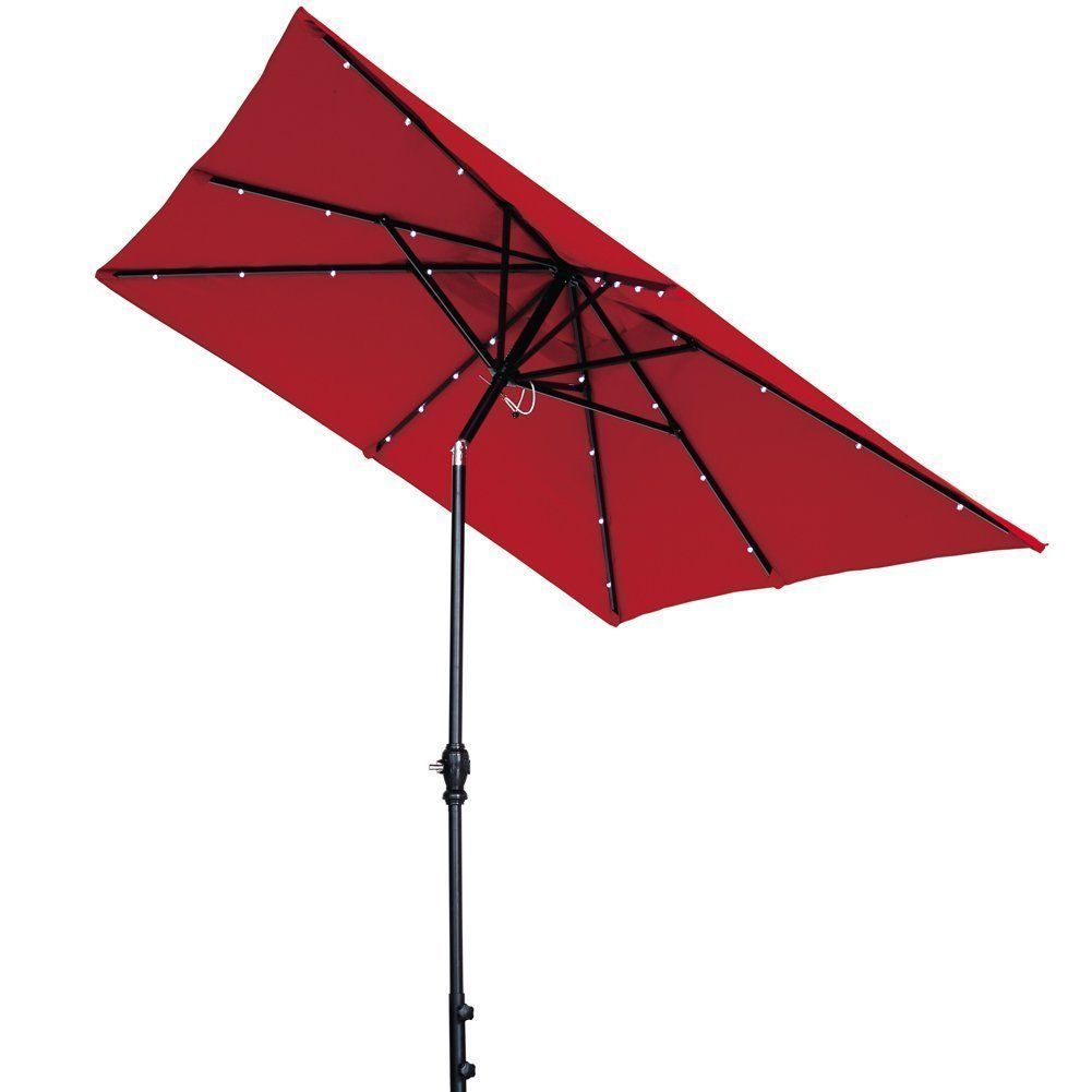 Rectangular Patio Umbrella With Solar Lights Abba Patio Solar Powered Aluminum Rectangular Led Light Tilt